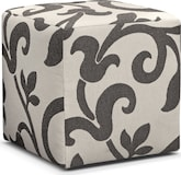 Living Room Furniture-Harlow Gray Cube Ottoman