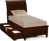 Kids Furniture-Laurel II Cherry Twin Bed with Trundle