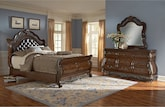 Bedroom Furniture-Velasquez Burl 5 Pc. Queen Bedroom