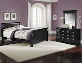 Bedroom Furniture-Avignon Black 5 Pc. Queen Bedroom