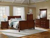 Bedroom Furniture-The Avignon Cherry Collection-Avignon Cherry Queen Bed