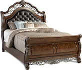 Bedroom Furniture-Velasquez Burl Queen Bed