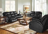 Living Room Furniture-The Easton Black Collection-Easton Black Dual Reclining Sofa