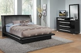 Bedroom Furniture-Prima Black 5 Pc. King Bedroom