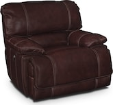 Living Room Furniture-Clinton Burgundy Power Recliner