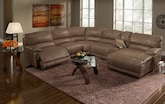 Living Room Furniture-The Clinton Taupe Collection-Clinton Taupe 6 Pc. Power Reclining Sectional