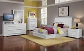 Bedroom Furniture-The Prima II White Collection-Prima II White Queen Bed