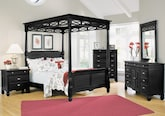 Bedroom Furniture-The Magnolia Black Canopy Collection-Magnolia Black Canopy Queen Bed