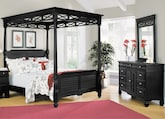 Bedroom Furniture-Magnolia Black Canopy 5 Pc. Queen Bedroom