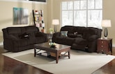 Living Room Furniture-The Mullins Chocolate Collection-Mullins Chocolate Dual Reclining Sofa