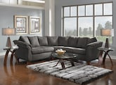 Living Room Furniture-The Perry II Graphite Collection-Perry II Graphite 2 Pc. Sectional