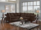 Living Room Furniture-The Perry II Chocolate Collection-Perry II Chocolate 2 Pc. Sectional
