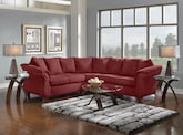 New Sectional - Furniture.com - The Adrian Red II Living Room Collection