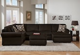 Living Room Furniture-The Salina Chocolate Collection-Salina Chocolate 3-Piece Sectional