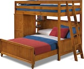 Kids Furniture-Riley II Pine Loft Bed with Full Bed