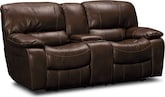 Living Room Furniture-Jackson Chocolate Dual Reclining Loveseat