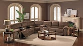 Living Room Furniture-The Jackson Mocha Collection-Jackson Mocha 3 Pc. Reclining Sectional