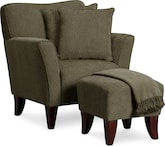 Living Room Furniture-Celeste Chair Set with Pillows and Throw