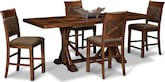Dining Room Furniture-Greenfield Walnut 5 Pc. Counter-Height Dinette