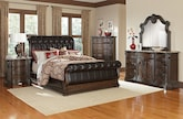 Bedroom Furniture-The Lafayette II Pecan Collection-Lafayette II Pecan Queen Bed