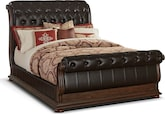 Bedroom Furniture-Monticello Pecan II Queen Bed