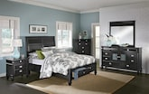 Bedroom Furniture-The Peony II Black Collection-Peony II Black Queen Storage Bed