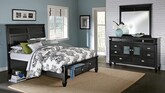 Bedroom Furniture-Peony II Black 5 Pc. Queen Storage Bedroom