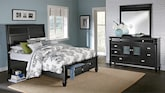 Bedroom Furniture-Peony II Black 5 Pc. King Storage Bedroom