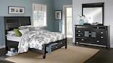 Bedroom Furniture-Peony II Black 5 Pc. King Storage Bedroom