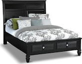 Bedroom Furniture-Peony II Black Queen Storage Bed