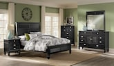 Bedroom Furniture-The Peony Black Collection-Peony Black Queen Bed