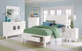 Bedroom Furniture-The Peony II White Collection-Peony II White Queen Storage Bed