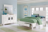 Bedroom Furniture-Peony II White 5 Pc. Queen Storage Bedroom