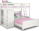 Kids Furniture-Riley II White Loft Bed with Full Bed