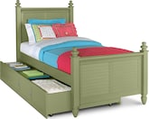 Kids Furniture-Seaside Green Twin Bed with Trundle