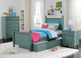 Kids Furniture-The Mayflower Blue Collection-Mayflower Blue Twin Bed with Trundle