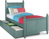 Kids Furniture-Seaside Blue Twin Bed with Trundle