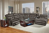 Living Room Furniture-The Parker Gray Collection-Parker Gray 6 Pc. Power Reclining Sectional