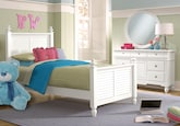 Kids Furniture-Mayflower White 5 Pc. Full Bedroom