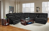 Living Room Furniture-The Parker Black Collection-Parker Black 6 Pc. Power Reclining Sectional