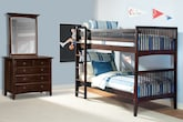 Kids Furniture-The Wentworth III Dark Collection-Wentworth III Dark Twin Bunk Bed