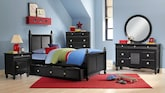 Kids Furniture-The Mayflower Black Collection-Mayflower Black Twin Bed with Trundle