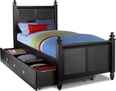 Kids Furniture-Mayflower Black Full Bed with Trundle