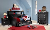 Kids Furniture-The Mayflower II Black Collection-Mayflower II Black Bookcase Daybed with Trundle