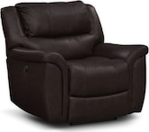 Living Room Furniture-Brisbane Walnut Power Recliner