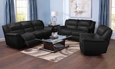 Living Room Furniture-The Brisbane Black Collection-Brisbane Black Dual Power Reclining Sofa