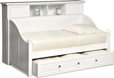 Kids Furniture-Seaside White II Bookcase Daybed with Trundle