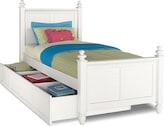 Kids Furniture-Mayflower White Twin Bed with Trundle