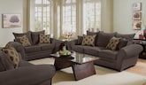 Living Room Furniture-Strauss Chocolate 2 Pc. Living Room