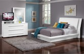 Bedroom Furniture-Prima White 5 Pc. Queen Bedroom